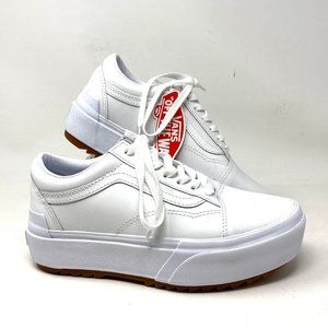 VANS OLD SKOOL STACKED Mens 9 white leather NEW